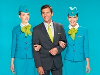S7 Airlines introduces a new summer uniform for it's flights attendants